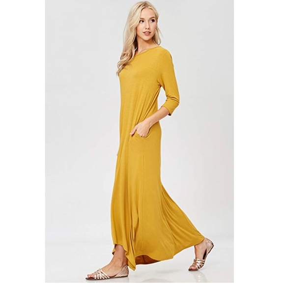 Dresses Cora Loose 34 Sleeve Maxi Dress Mustard Pockets Poshmark